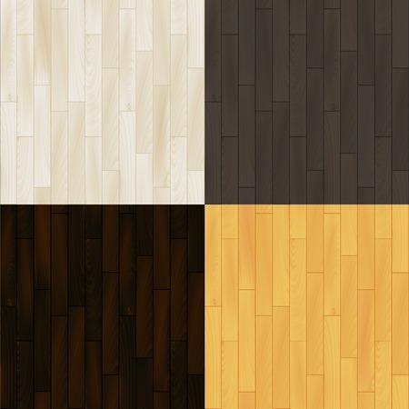 wooden floor: Realistic wooden floor parquet seamless patterns set, background