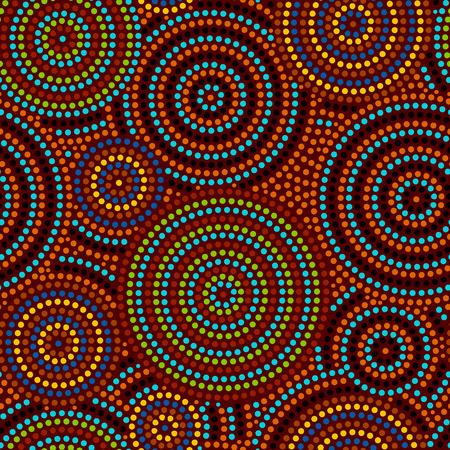 Aborígenes australianos coloridos del arte geométrico círculos concéntricos sin patrón, fondo Ilustración de vector