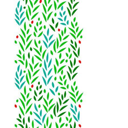 subtle: Subtle green leaves floral vertical seamless border on white, background Illustration