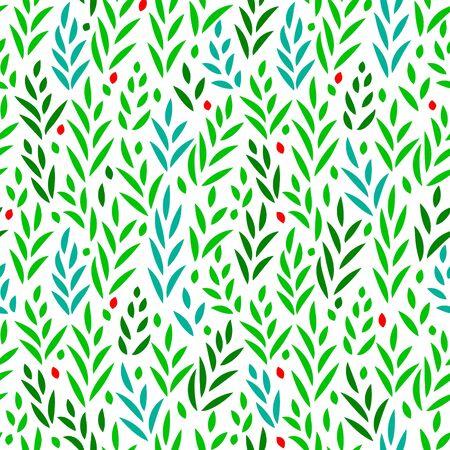 feuilles vertes subtiles et de l'herbe seamless floral sur blanc, fond