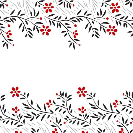 red and black: Black white and red flowers horizontal seamless border on white