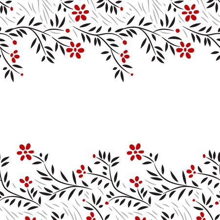 flowers horizontal: Black white and red flowers horizontal seamless border on white