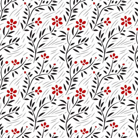 black wall: Subtle green leaves and grass floral seamless pattern on white