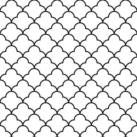 Black and white arabic traditional quatrefoil seamless pattern Vector Illustration