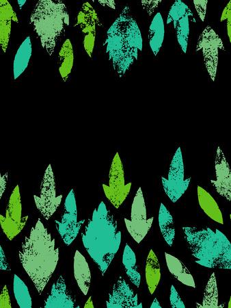 herbarium: Fresh green leaves traces seamless border Illustration