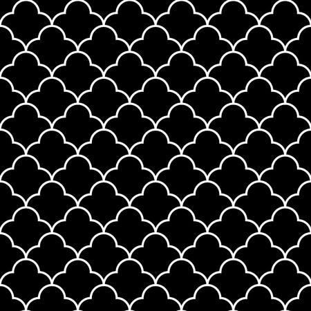 wall paper: Black and white arabic traditional geometric quater foil seamless pattern Illustration