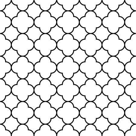 黒と白のアラビアの伝統的な幾何学的な四葉のシームレス パターン  イラスト・ベクター素材