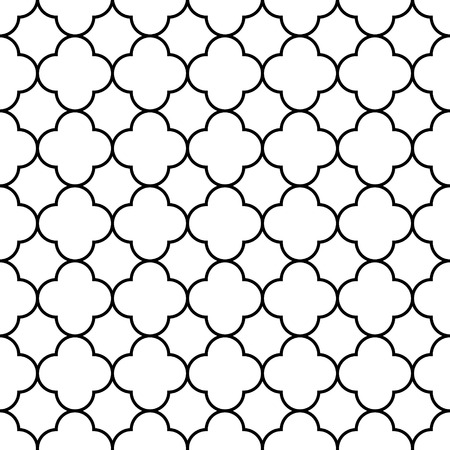 Black and white arabic traditional geometric quatrefoil seamless pattern