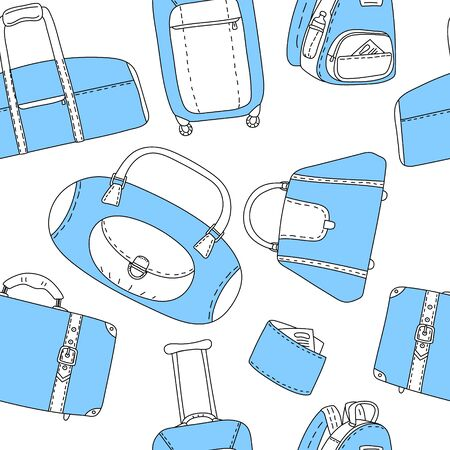 black and blue: Black blue and white travel bags seamless pattern, background Illustration