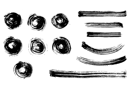 deisgn: Black grunge brush strokes - circle and lines. deisgn elements