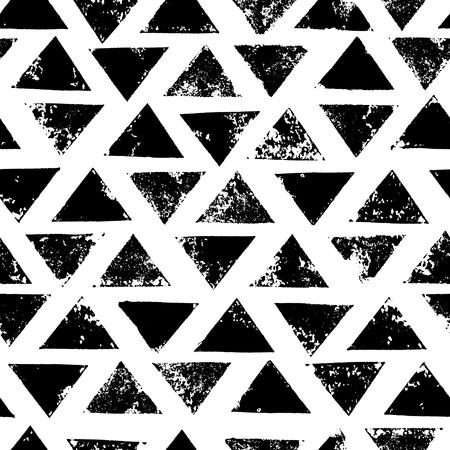 Black and white grunge print triangles geometric seamless pattern, background