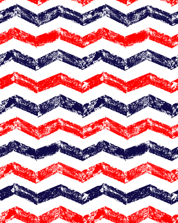 red white blue: Blue red and white grunge chevron geometric seamless pattern, background