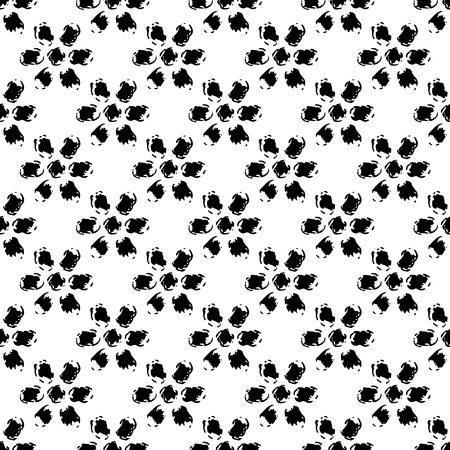 dry flowers: Simple black and white grunge flowers seamless pattern, background