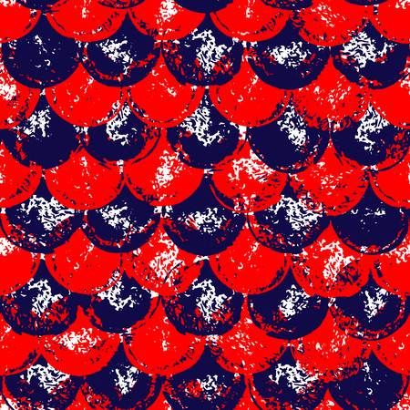 scallop: Red and blue grunge scallop geometric seamless pattern, background