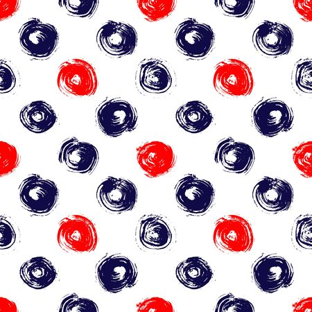pattern geometric: Navy blue red and white grunge circle brush strokes geometric seamless pattern