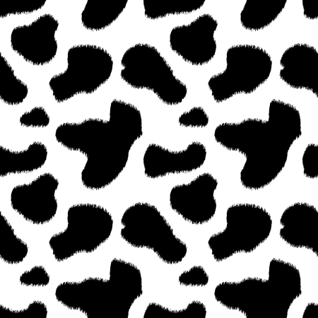 Black and white cow skin animal print seamless pattern