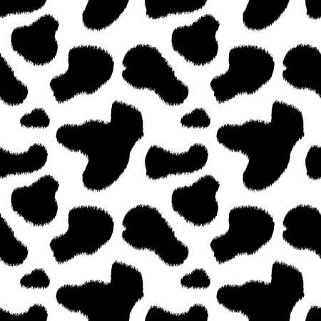 Black and white cow skin animal print seamless pattern