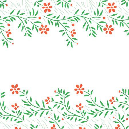 flowers horizontal: Red flowers horizontal frame seamless border on white