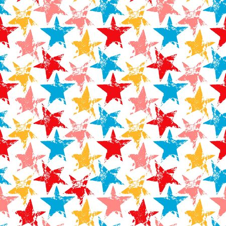 colorful grunge: Colorful worn out grunge stars prints seamless pattern background