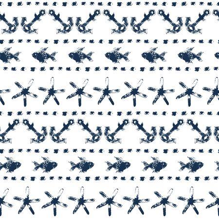 azul marino: Marina transparente patrón de rayas con anclas, peces, estrellas de mar, puntos en fondo azul marino y blanco