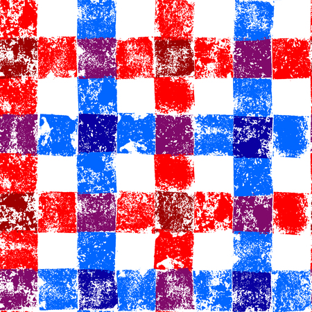 checkered: Blue and red checkered grunge gingham seamless pattern background