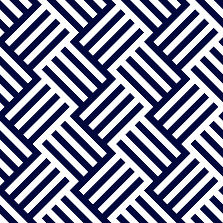Dark blue and white woven stripes seamless pattern background Illustration