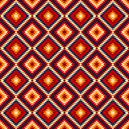kilim: Colorful red yellow blue aztec ornaments geometric ethnic seamless pattern background Illustration