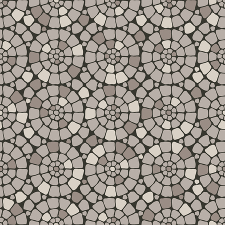stone floor: Grey pave stone circles road seamless pattern background