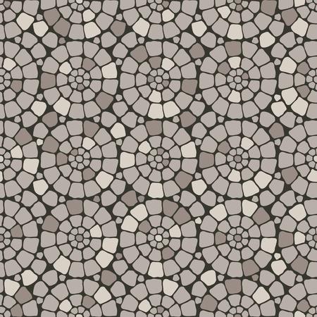 Grey pave stone circles road seamless pattern background