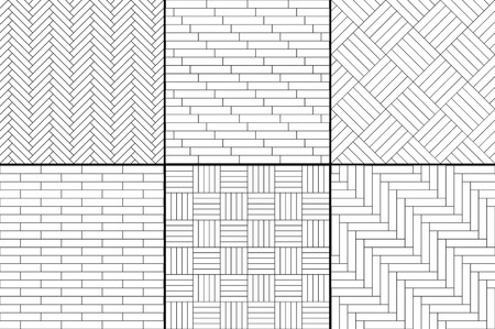 black floor: Black and white simple wooden parquet floor set - herringbone, stripes, squares seamless patterns, vector collection