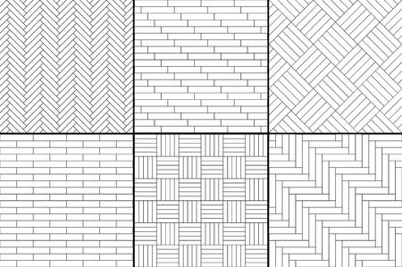 Schwarze und weiße einfache Holzparkettboden-Set - Fischgrät, Streifen, Quadrate nahtlose Muster, Vektor-Sammlung