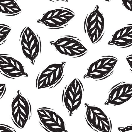 garden plant: Black and white linocut leaves seamless pattern, vector background Illustration
