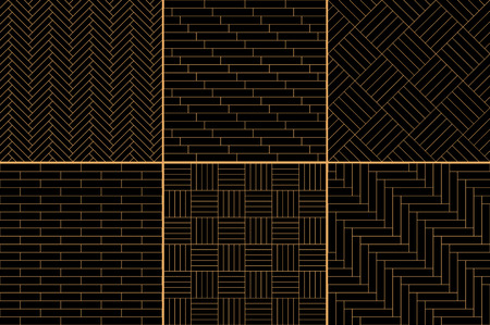 black floor: Black and golden simple geometric parquet floor set - herringbone, stripes, squares seamless patterns, vector collection Illustration