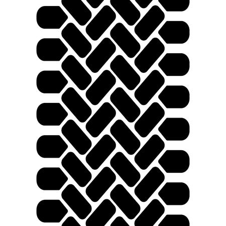 In bianco e nero della pista della gomma del battistrada senza soluzione di modello, di frontiera vettore Vettoriali