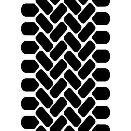 Black and white tire tread track seamless pattern, vector border Illustration