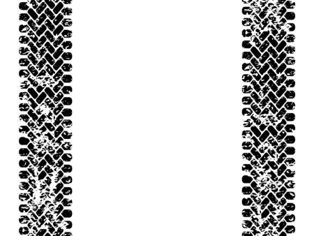 tread: Black and white tire tread track seamless pattern, vector border Illustration