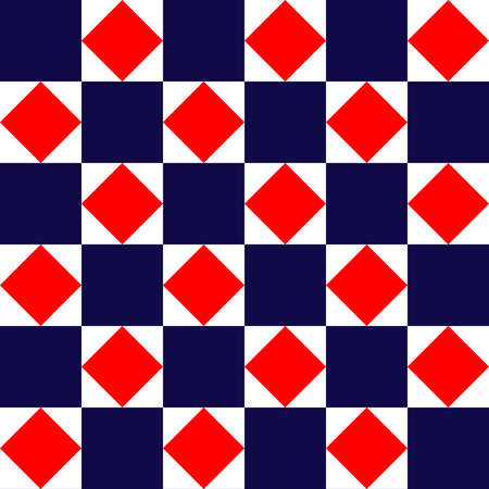 Blue red and white geometric square tiles simple seamless pattern, vector background Illustration