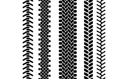 vehicle track: Black and white tire tread protector track seamless pattern, vector borders set