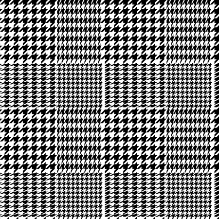 Houndstooth geometric plaid seamless pattern in black and white, vector background  イラスト・ベクター素材