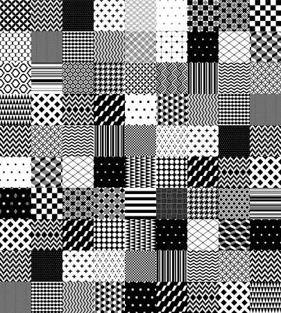 quilted: Black and white patchwork quilted geometric seamless pattern, vector background Illustration