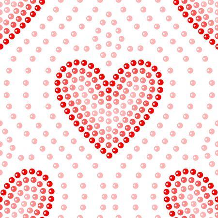 Shiny dot art red heart on white seamless pattern, vector
