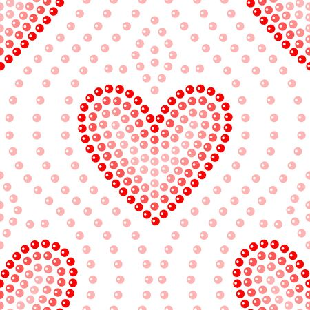 Shiny dot art red heart on white seamless pattern, vector