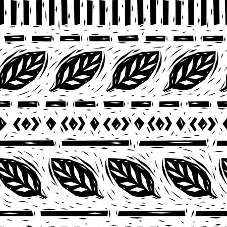 linocut: Black and white linocut leaves geometric borders seamless pattern, vector