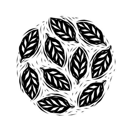 white: Black and white linocut leaves circle, vector Illustration