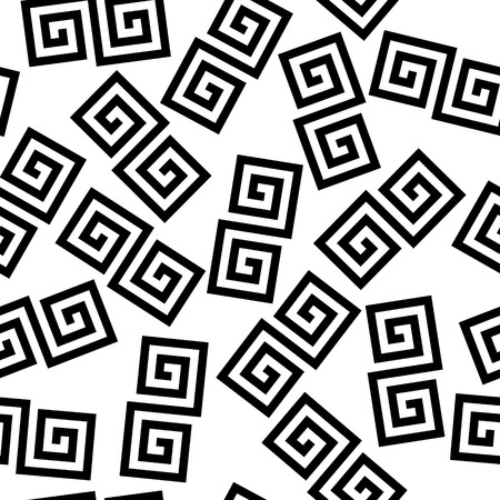 old square: Black and white geometric greek meander spiral chaotic seamless pattern.