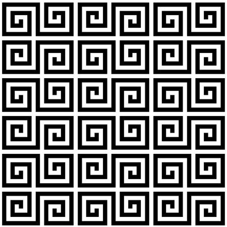 黒と白のギリシャの幾何学的蛇行螺旋伝統的なシームレス パターン。