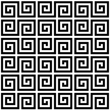 Black and white geometric Greek meander spiral traditional seamless pattern. Vettoriali
