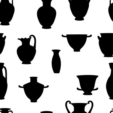 Black And White Greek Traditional Vases Seamless Pattern Vector