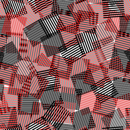 white: Black white red striped squares chaotic squares seamless pattern, vector