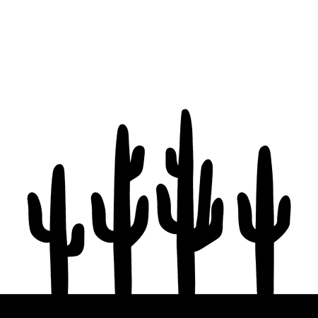 Saguaro cactus black and white simple illustration, vector Çizim